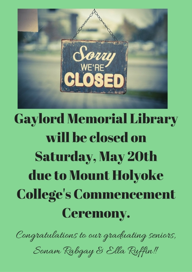 Gaylord Memorial Library Closed Sign